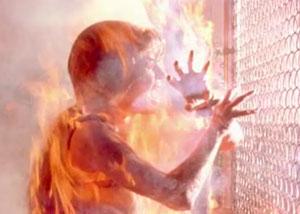 съемки горящей сары